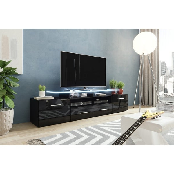 """Evora 76"""" Wide High Gloss Fronts Matte Body Modern Tv With Tv Stands High Gloss Front (View 11 of 17)"""