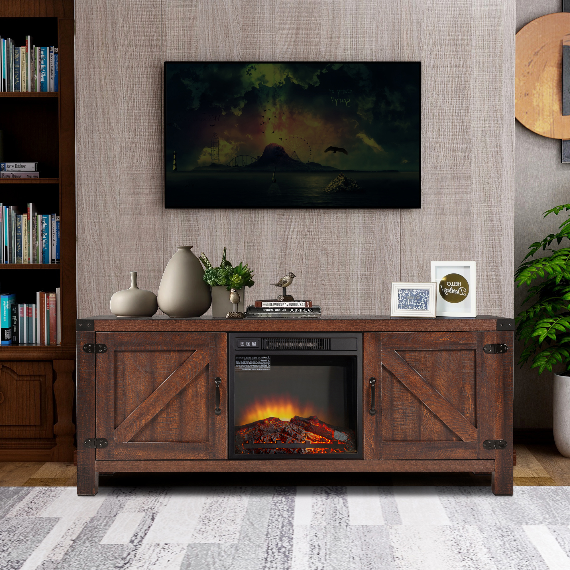 Fireplace Tv Stand, 58 Inch Wood Fireplace Stand, Modern Regarding Modern Farmhouse Tv Stands (View 2 of 31)