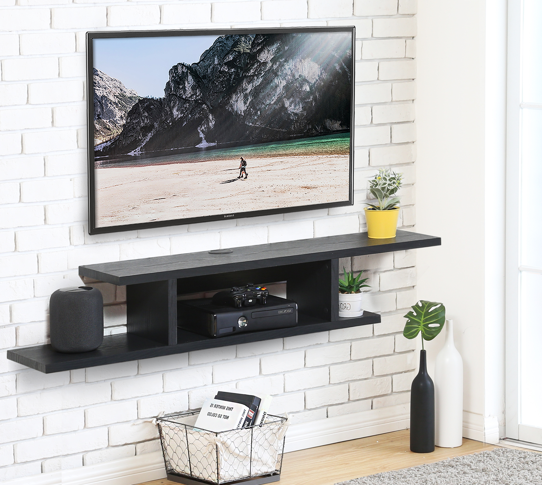 """Fitueyes Floating Wall Mounted Tv Console Storage Shelf In Wall Mounted Floating 63"""" Tv Stands (View 15 of 27)"""