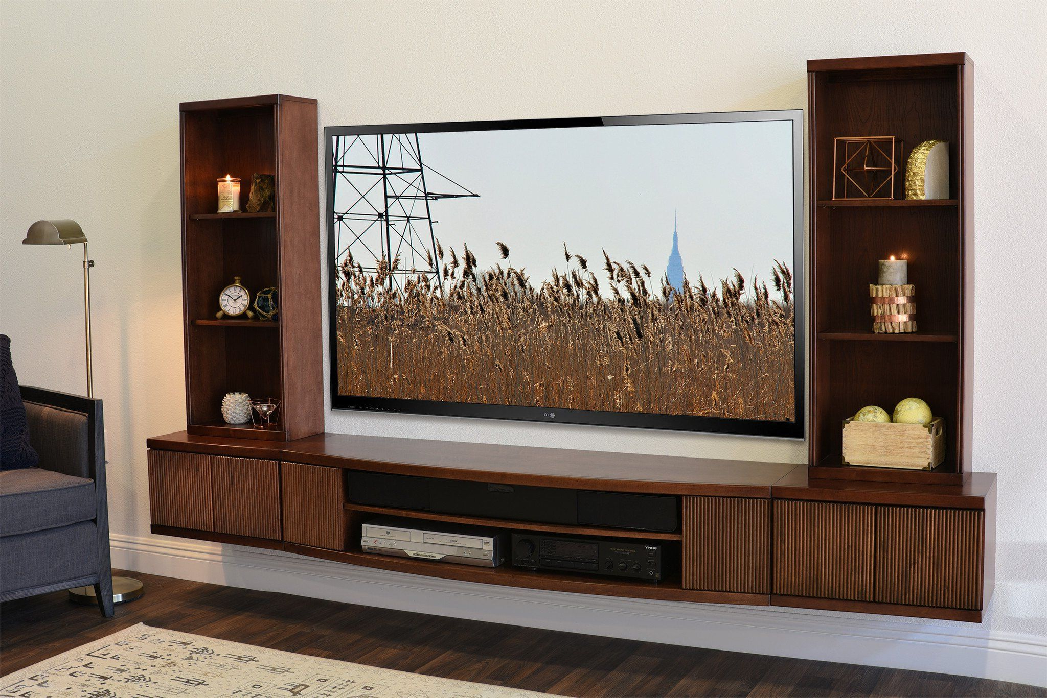 """Floating Tv Stand Wall Mount Entertainment Center – Curve Within Wall Mounted Floating 63"""" Tv Stands (View 12 of 27)"""