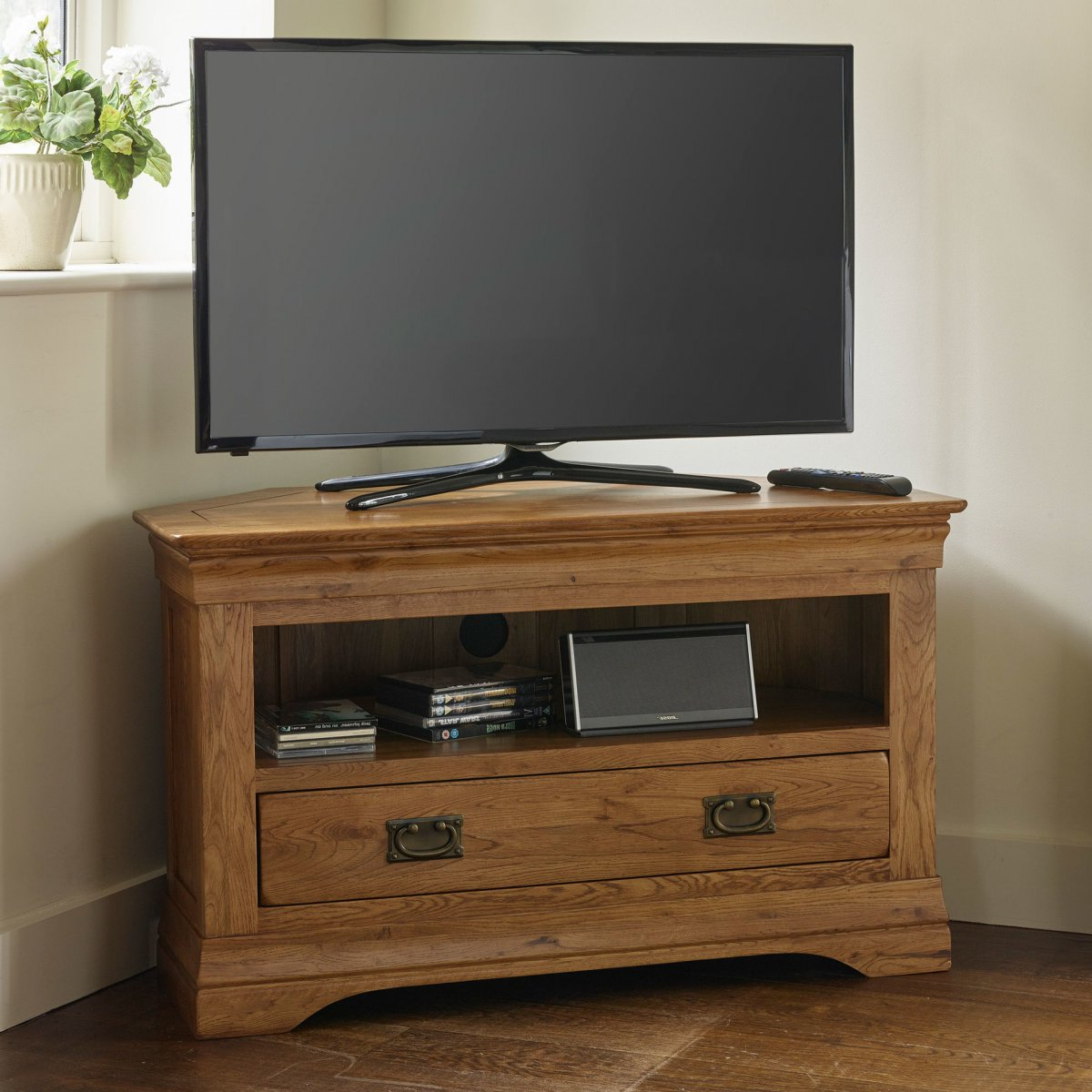 French Farmhouse Corner Tv Unit | Solid Oak | Oak Inside Stuart Geometric Corner Fit Glass Door Tv Stands (View 14 of 17)
