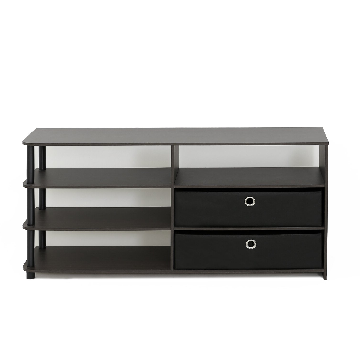 """Furinno Furinno Jaya Simple Design 50"""" Tv Stand With Bins Regarding Simple Tv Stands (View 6 of 16)"""