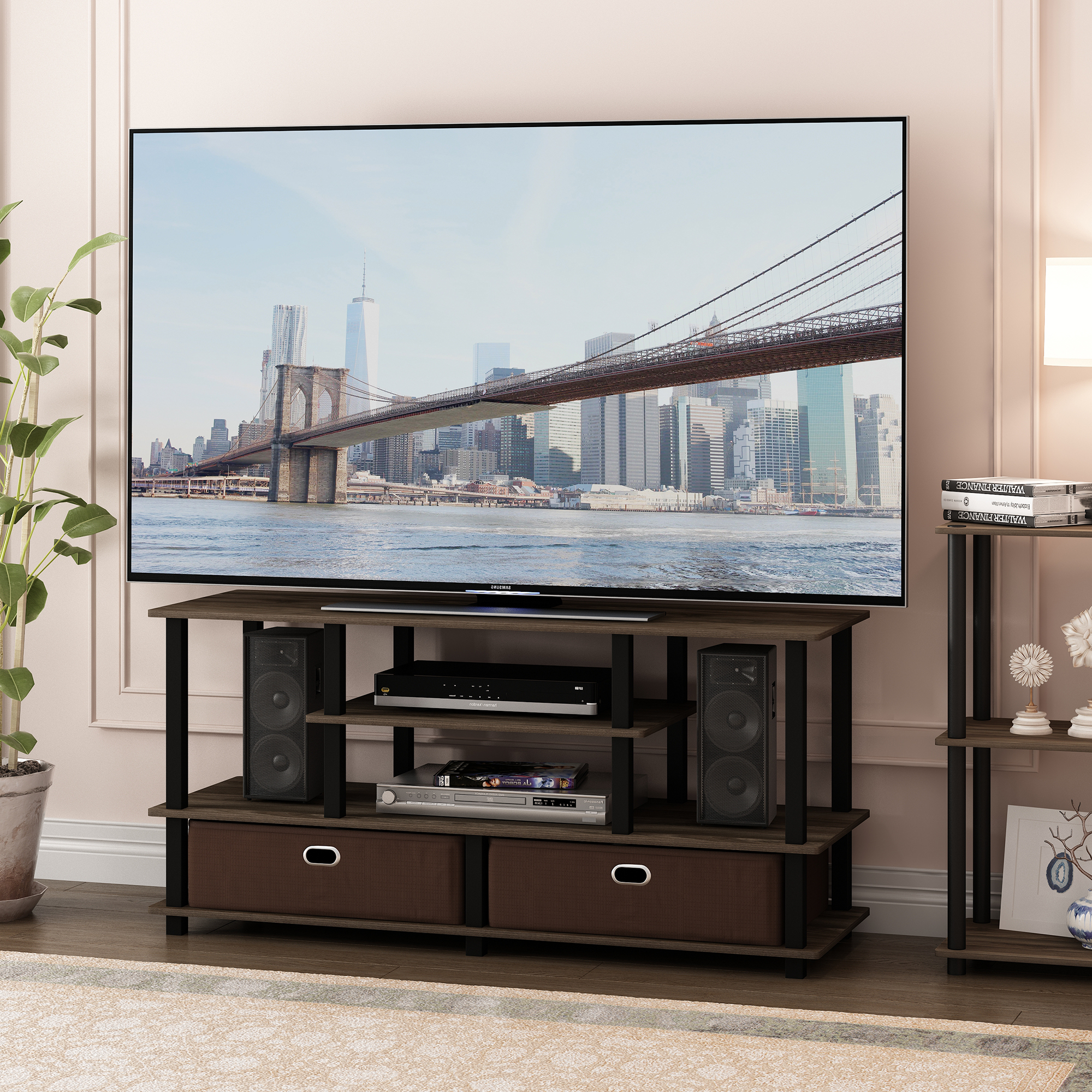 Furinno Jaya Large Tv Stand For Up To 55 Inch Tv With With Large Tv Stands (View 7 of 15)