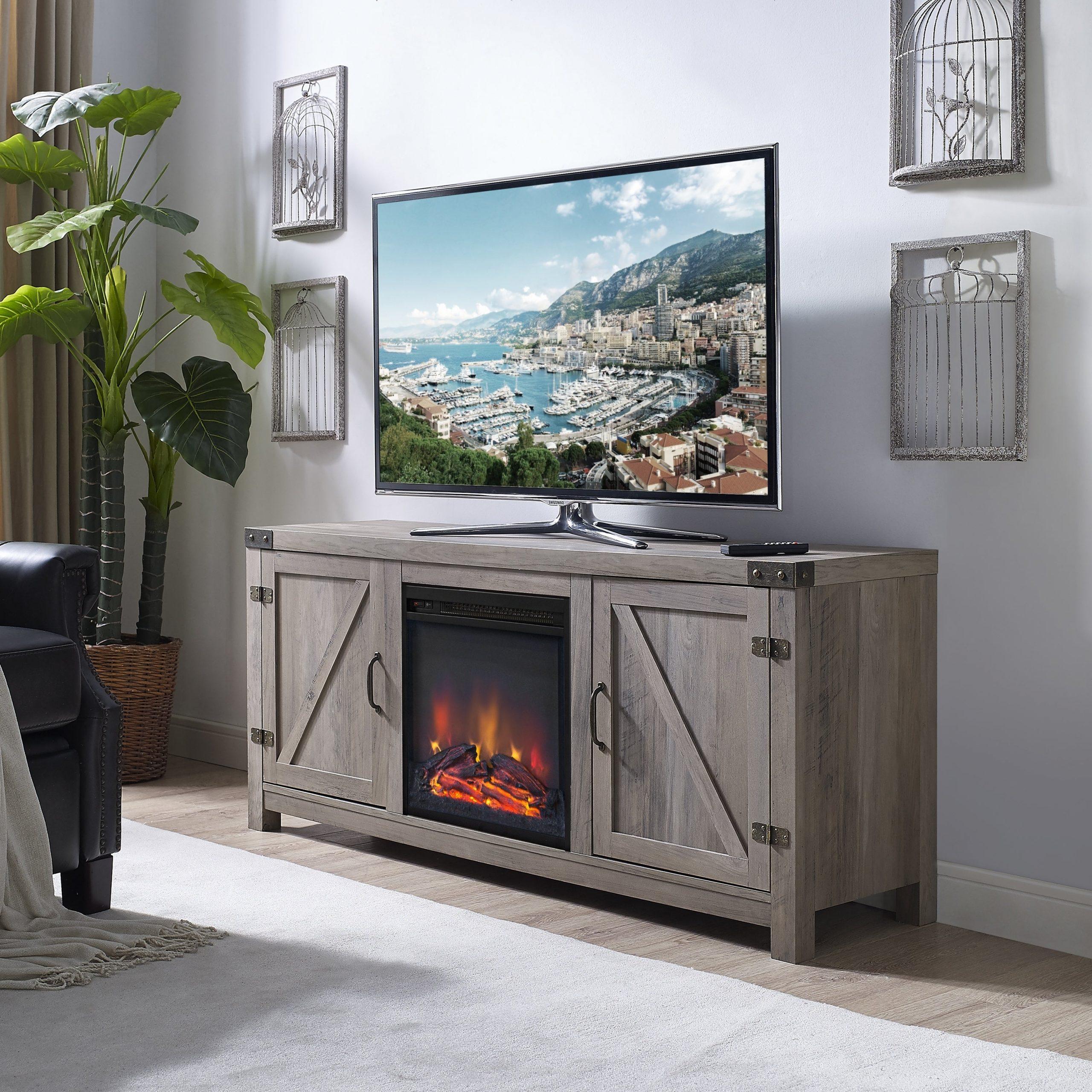 Grey Wash 58 Inch Barn Door Tv Stand With Fireplace | Ebay Regarding Stuart Geometric Corner Fit Glass Door Tv Stands (View 2 of 17)