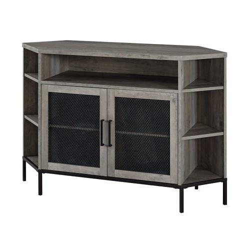 Industrial Metal Mesh Door Graywash Corner Tv Stand Intended For Geometric Corner Fit Glass Door Tv Stands (View 7 of 17)