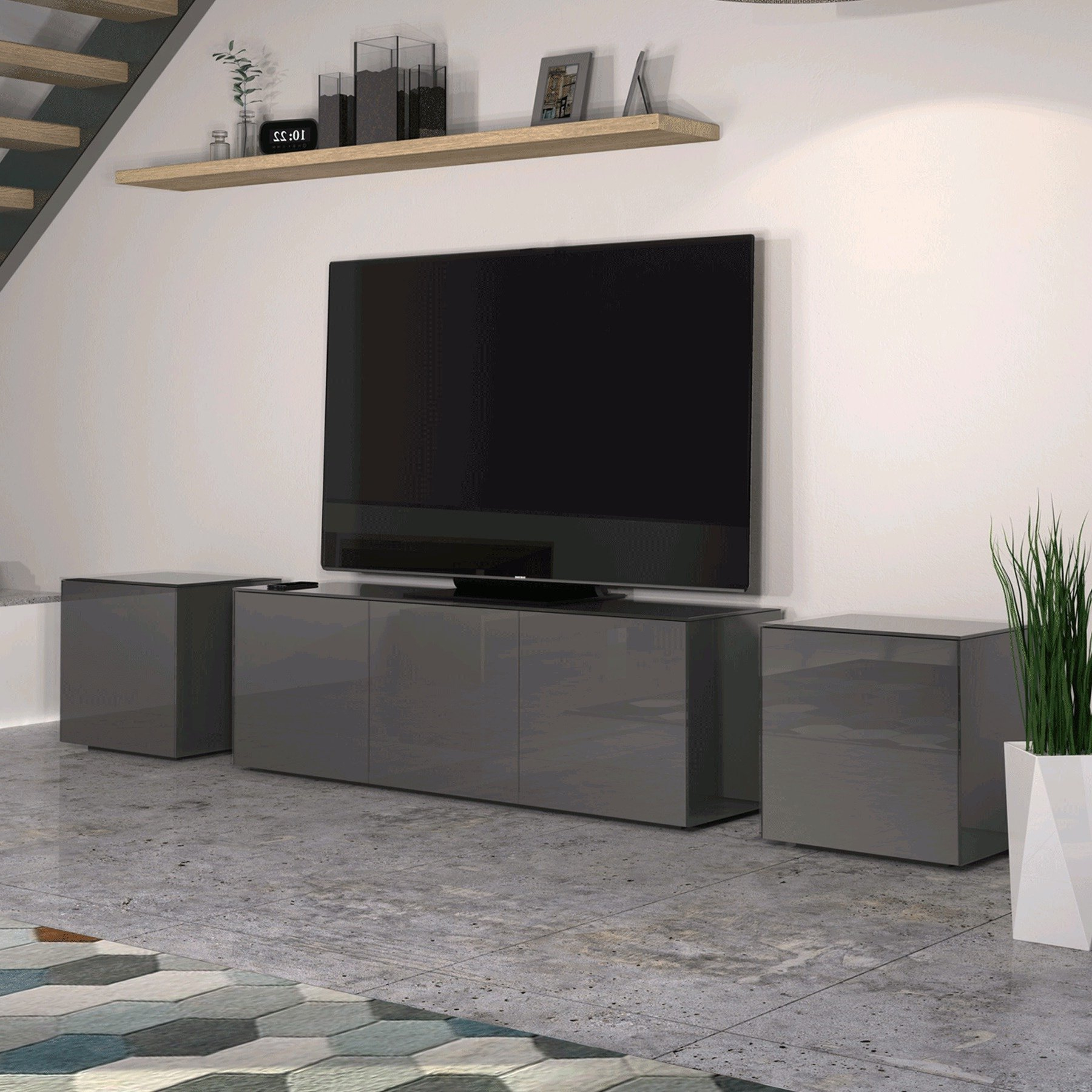 """Invictus Grey High Gloss Tv Stand For Up To 70"""" Tvs Regarding Miami 200 Modern 79"""" Tv Stands High Gloss Front (View 5 of 17)"""