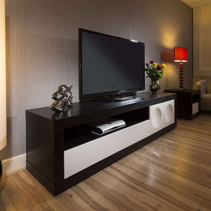 Large Modern Tv/television Cabinet/stand Black Oak / White Inside Large Tv Stands (View 13 of 15)