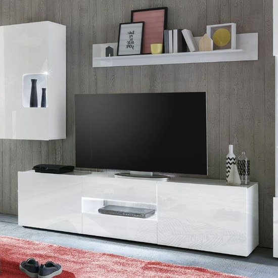 """Leon Tv Stand In White High Gloss With Led Lighting Regarding Miami 200 Modern 79"""" Tv Stands High Gloss Front (View 14 of 17)"""