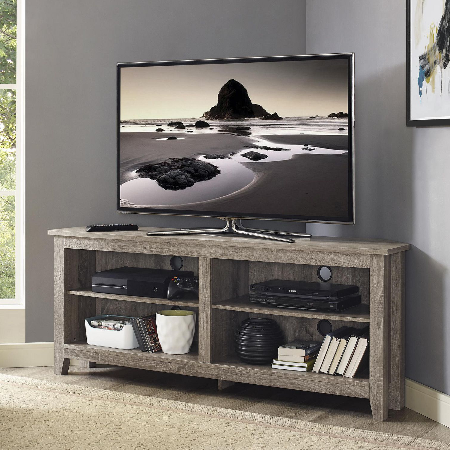Manor Park Simple Farmhouse Corner Tv Stand For Tv's Up To In Geometric Corner Fit Glass Door Tv Stands (View 12 of 17)