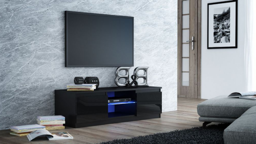 """Milano Designer High Gloss Led Tv Stand Cabinet Black Pertaining To Miami 200 Modern 79"""" Tv Stands High Gloss Front (View 16 of 17)"""