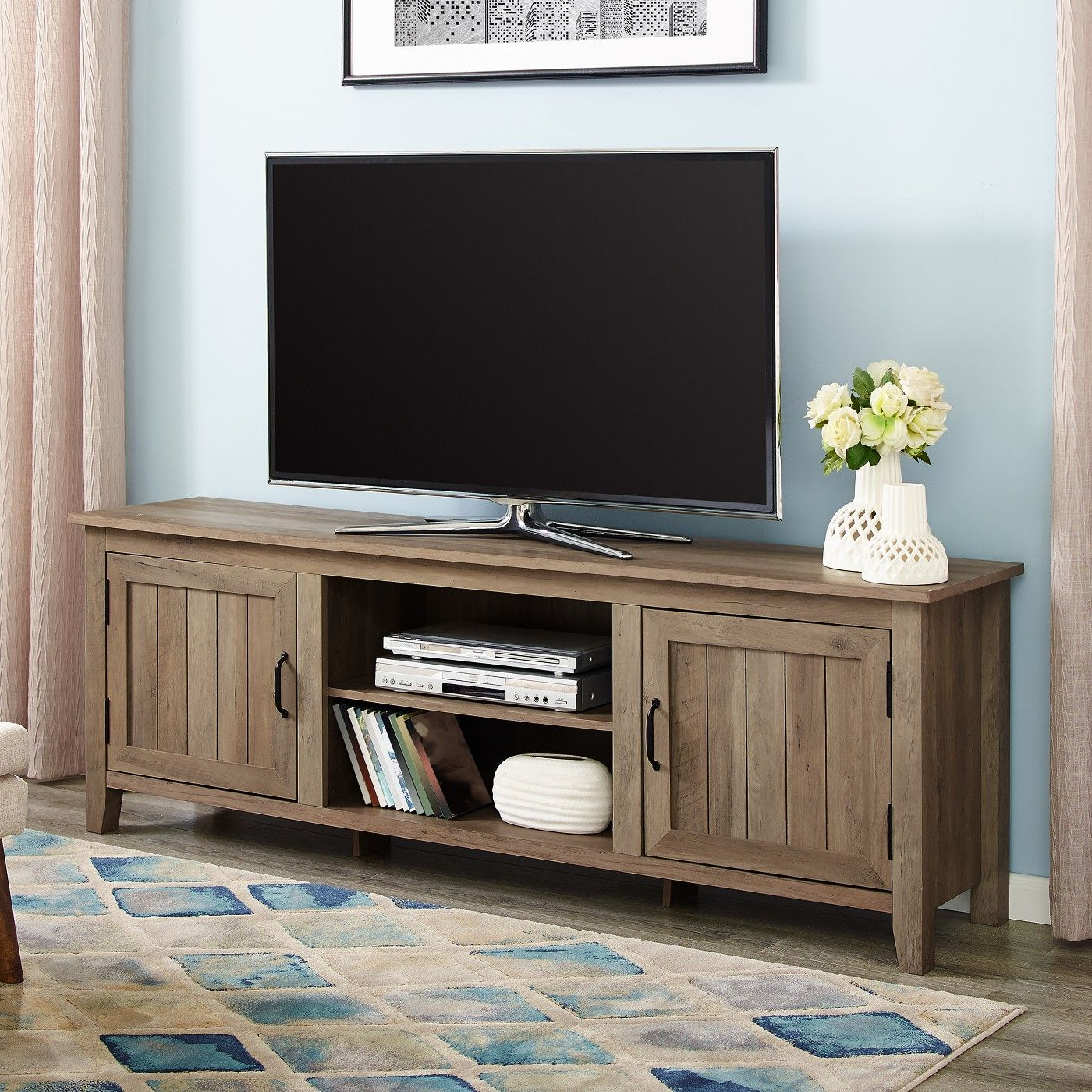 Modern Farmhouse Wood Tv Stand For Tvs Up To 80 Intended For Modern Farmhouse Tv Stands (View 17 of 31)