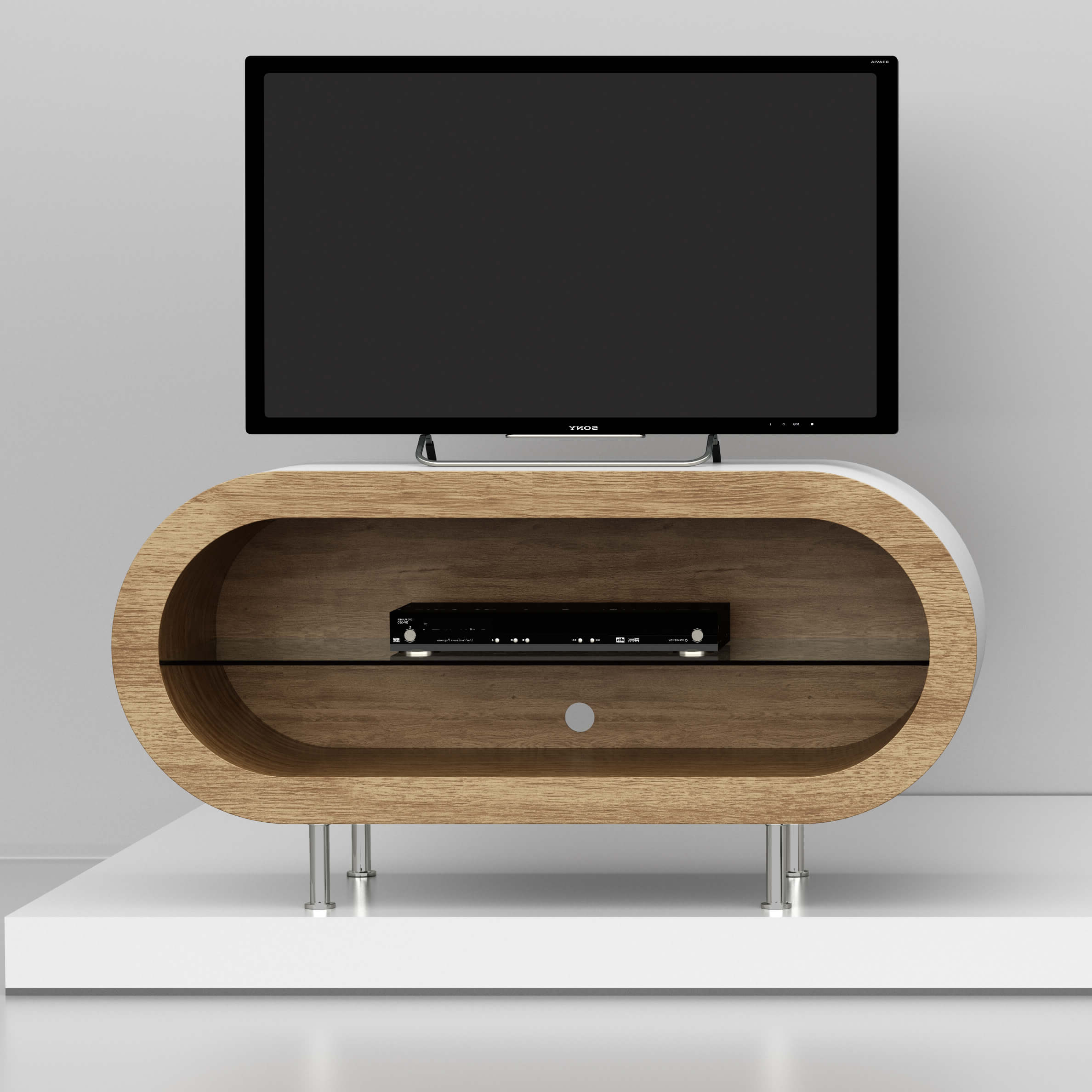 Pippy Oak Extra Large Hoop Tv Stand – Zespoke Intended For Large Tv Stands (View 5 of 15)