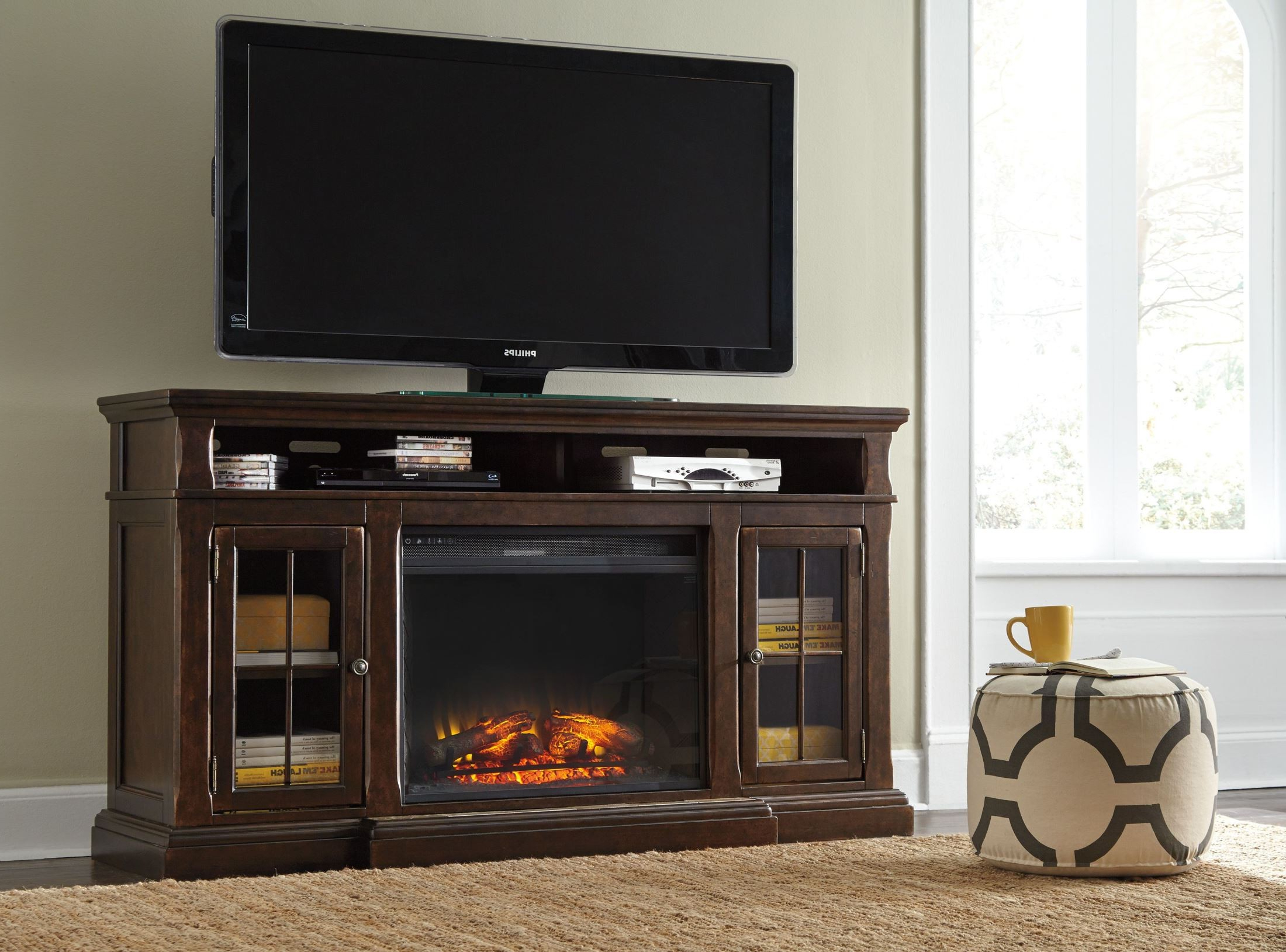 Roddinton Extra Large Tv Stand With Fireplace Insert, W701 For Large Tv Stands (View 12 of 15)