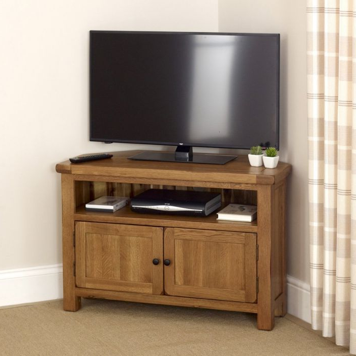 """Rustic Oak Corner Tv Unit – Up To 50"""" Tv Size 