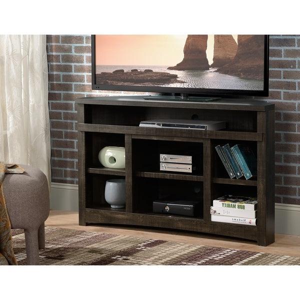 Shop Dark Oak Finish Corner Tv Stand Rough Sawn With Geometric Corner Fit Glass Door Tv Stands (View 3 of 17)