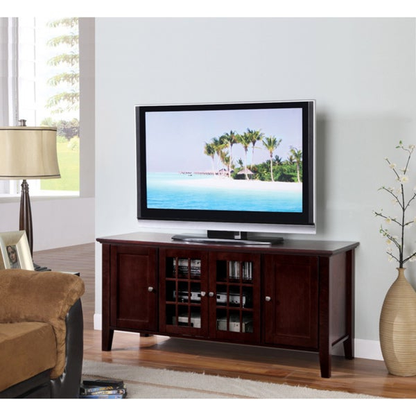 Shop K&b Dark Cherry Finish Wooden Tv Stand – On Sale Pertaining To Stuart Geometric Corner Fit Glass Door Tv Stands (View 11 of 17)