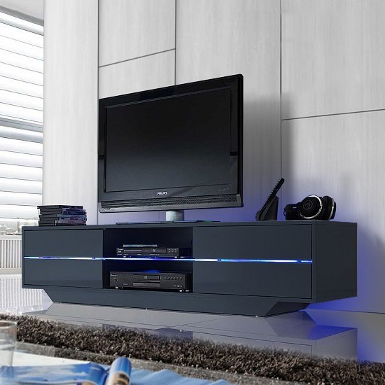 Sienna Tv Stand In Grey High Gloss With Multi Led Lighting Regarding Tv Stands High Gloss Front (View 3 of 17)
