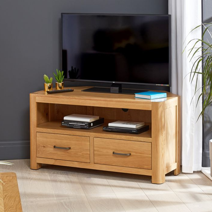 """Soho Oak Corner Tv Unit – Up To 50"""" Tv Size 