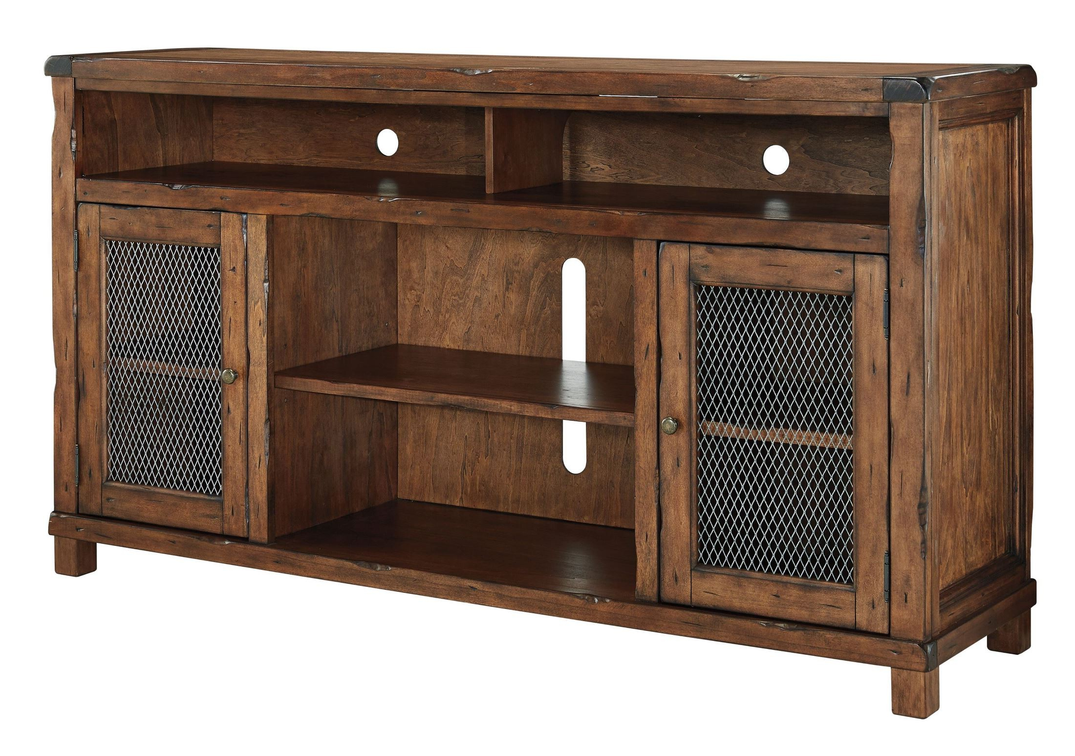 Tamonie Rustic Brown Extra Large Tv Stand With Fireplace Intended For Delta Large Tv Stands (View 8 of 15)