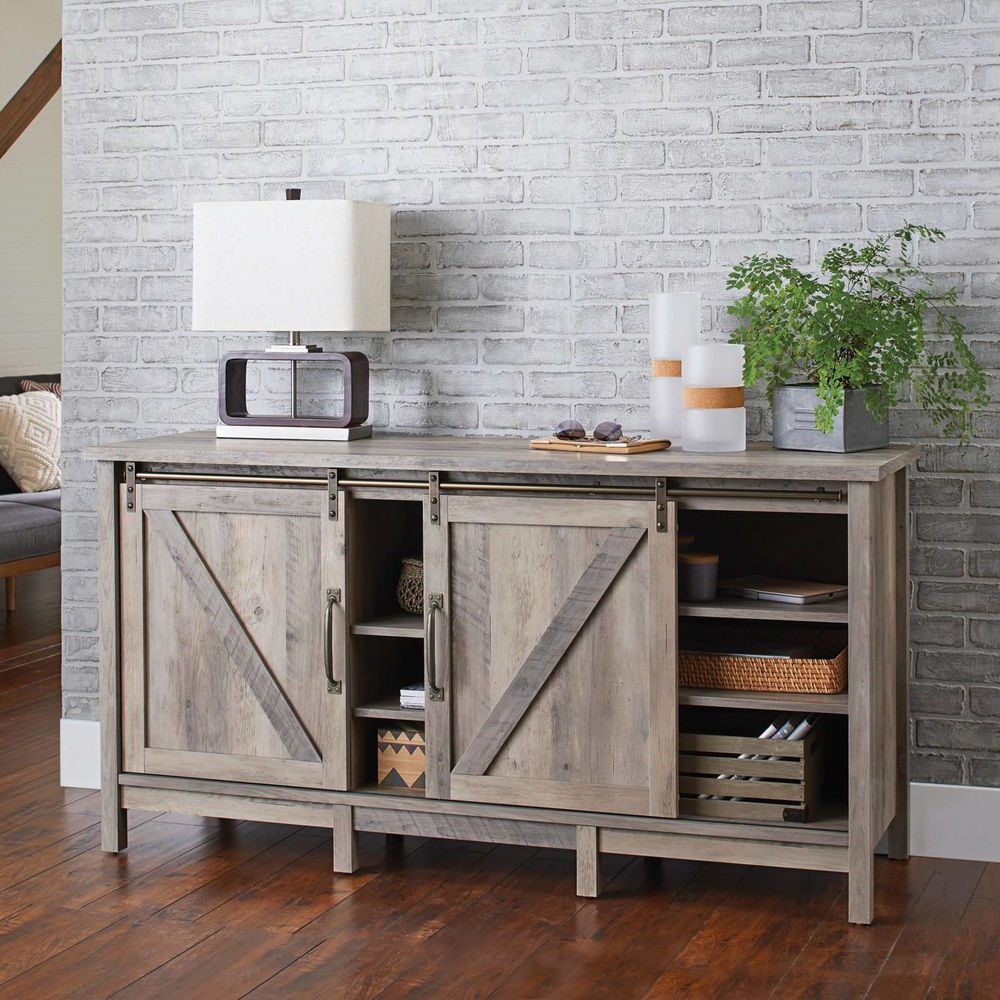 Tv Stand Cabinet Rustic Farmhouse Sliding Barn Door Gray Within Better Homes & Gardens Modern Farmhouse Tv Stands With Multiple Finishes (View 14 of 31)