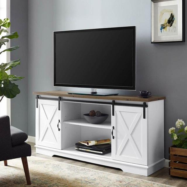 """Walker Edison 58"""" Modern Farmhouse Wood Tv Stand – White Intended For Better Homes & Gardens Modern Farmhouse Tv Stands With Multiple Finishes (View 18 of 31)"""
