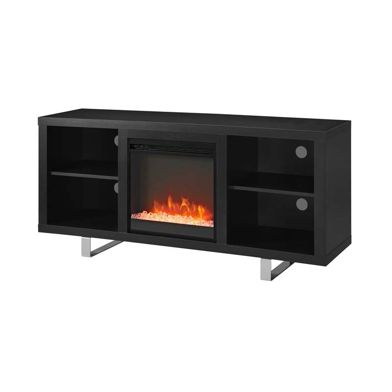 Walker Edison Simple Modern Fireplace Tv Stand (black With Simple Tv Stands (View 15 of 16)