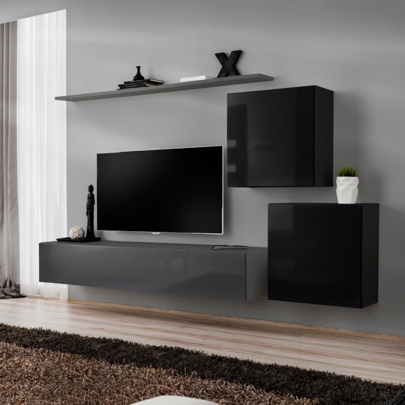 Wall Unit 250cm Bmf Switch V Tv Stand Shelf 2 Square For Square Tv Stands (View 12 of 20)