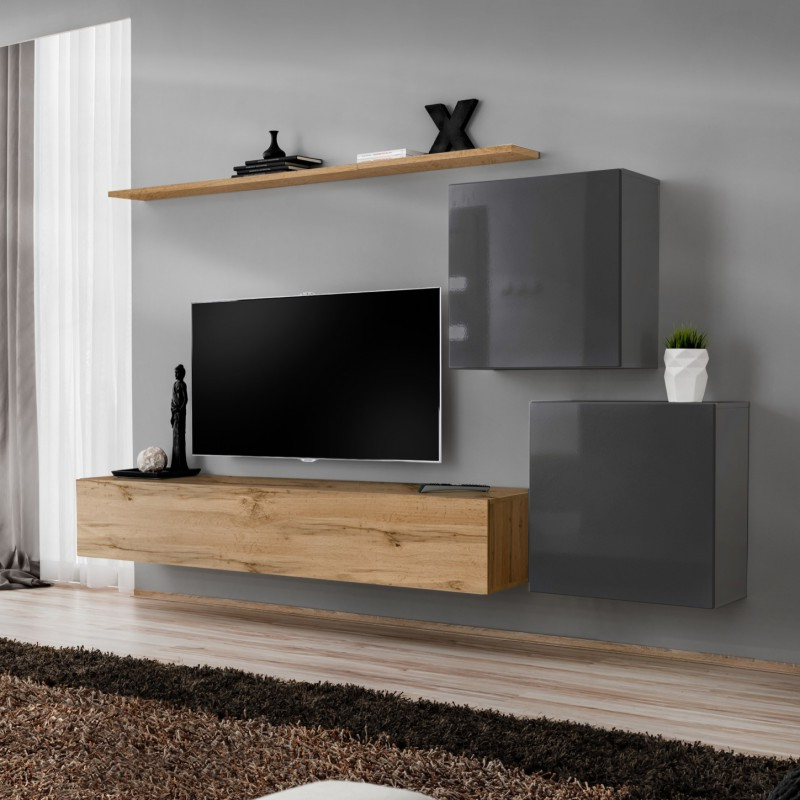 Wall Unit 250cm Wide Tv Stand Shelf 2 Square Cabinets Push Regarding Square Tv Stands (View 14 of 20)