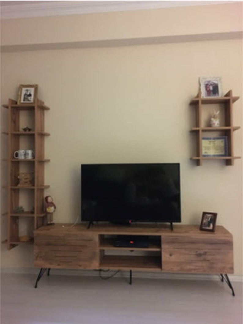 Walnut Square Shelf Tv Unit Walnut Tv Stand   Etsy In Square Tv Stands (View 1 of 20)
