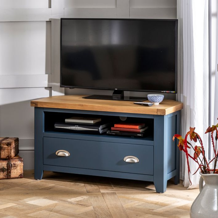 Westbury Blue Painted Corner Tv Unit – To Fit Tvs Up To 48 In Geometric Corner Fit Glass Door Tv Stands (View 17 of 17)