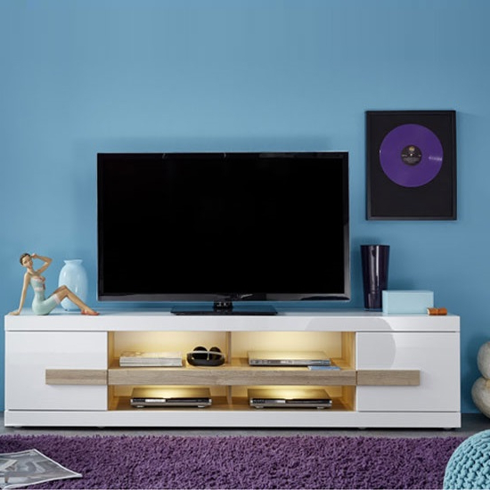 Wexford Tv Stand In White High Gloss Fronts And Oak With Intended For Tv Stands High Gloss Front (View 13 of 17)