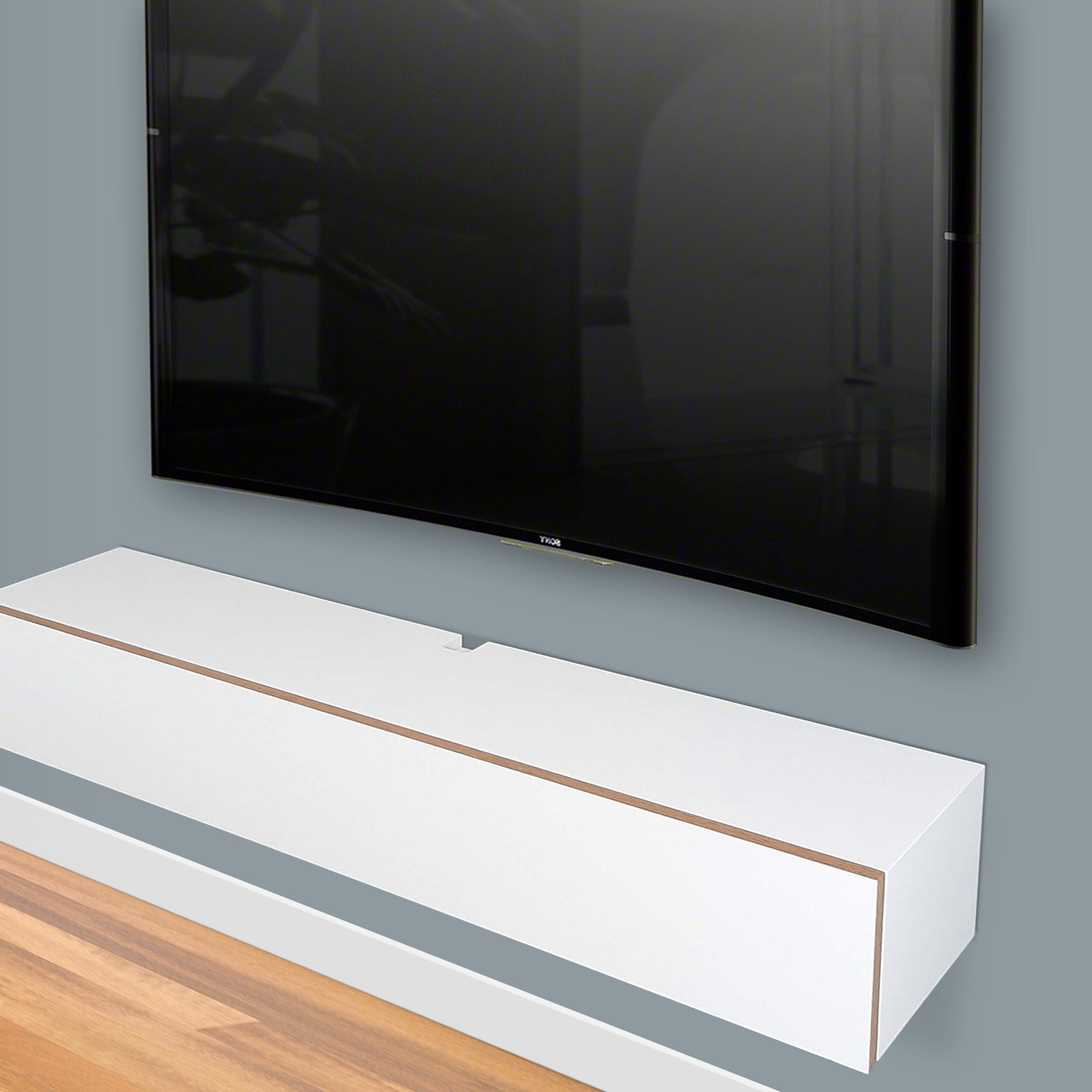 """White Floating Tv Stand, Wall Mount Media Console   Spark With Bari 160 Wall Mounted Floating 63"""" Tv Stands (View 13 of 27)"""