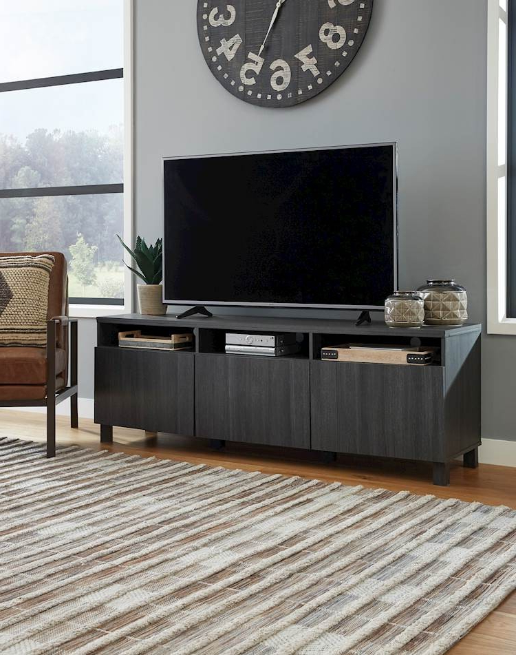 Yarlow Black Extra Large Tv Stand – Speedyfurniture Pertaining To Delta Large Tv Stands (View 3 of 15)