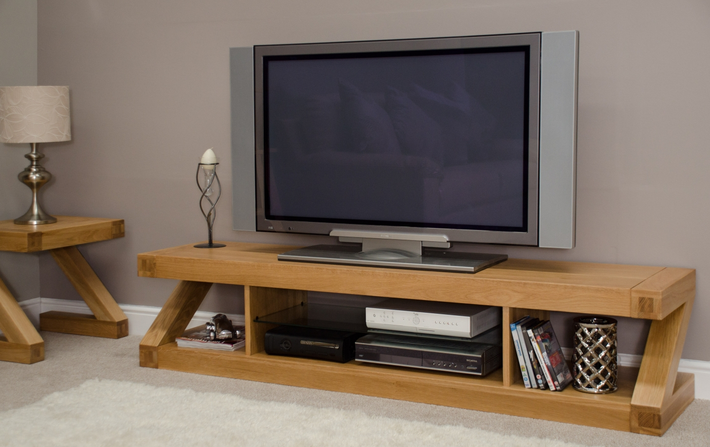 Z Solid Oak Designer Furniture Large Widescreen Tv Cabinet With Regard To Delta Large Tv Stands (View 15 of 15)