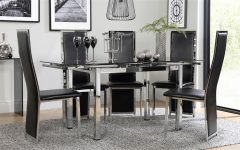 Black Glass Extending Dining Tables 6 Chairs