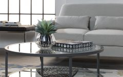 Carbon Loft Heimlich Pewter Steel/glass Round Coffee Tables