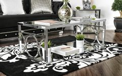 Silver Orchid Ipsen Contemporary Glass Top Coffee Tables