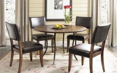 Bale Rustic Grey 7 Piece Dining Sets With Pearson White Side Chairs