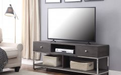 Modern Black Tv Stands on Wheels with Metal Cart