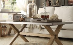 Aberdeen Industrial Zinc Top Weathered Oak Trestle Coffee Tables