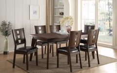 Caira 7 Piece Rectangular Dining Sets with Upholstered Side Chairs