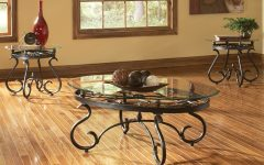 Gracewood Hollow Fishta Antique Brass Metal Glass 3-piece Tables