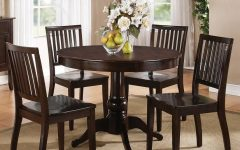 Candice Ii 5 Piece Round Dining Sets with Slat Back Side Chairs