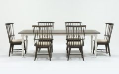 Candice Ii 7 Piece Extension Rectangular Dining Sets with Uph Side Chairs