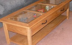 Glass Top Display Coffee Tables with Drawers