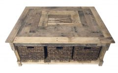 Coffee Table with Wicker Basket Storage