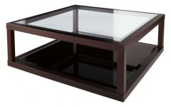 Dark Wood Coffee Tables With Glass Top