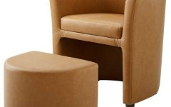 Faux Leather Barrel Chair and Ottoman Sets