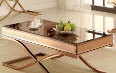 Furniture of America Orelia Brass Luxury Copper Metal Coffee Tables