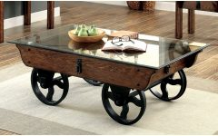 Furniture of America Charlotte Weathered Oak Glass Top Coffee Tables
